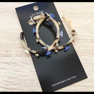 J Crew Floral & Tortoise Hoop Earrings